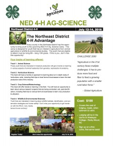 NED Ag. science camp flyer