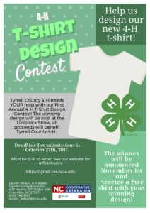 Cover photo for First Annual Tyrrell County 4-H T-Shirt Design Contest