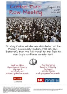 Cover photo for Cotton Turn Row Meeting - August 23, 2018