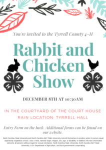 Cover photo for Tyrrell County 4-H Rabbit and Chicken Show - December 8, 2018