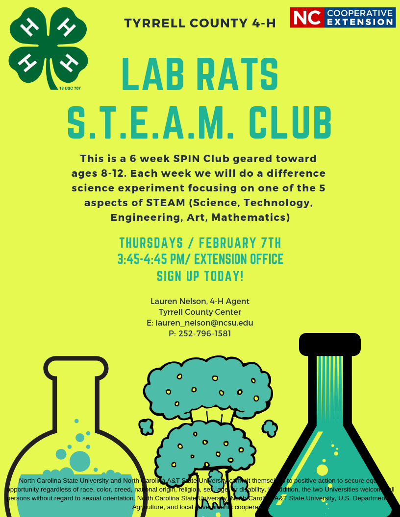 S.T.E.A.M. Club information flyer