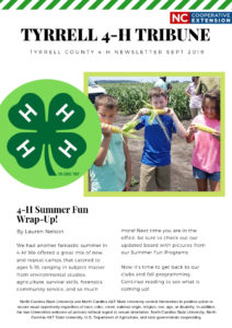 Cover photo for Tyrrell County 4-H Fall Newsletter