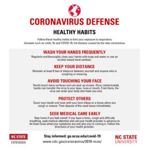 Cover photo for Coronavirus Defense - Healthy Habits